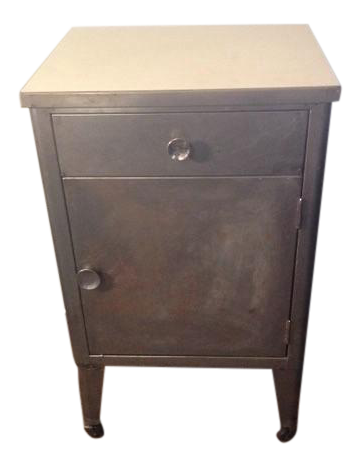Vintage Industrial Metal Cabinet On Wheels