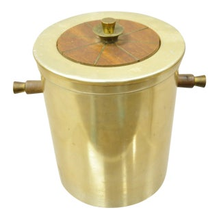 Vtg Georges Briard Mid Century Modern Aluminum Brass Tone Ice Bucket W Handles For Sale