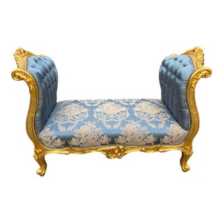 Gold and Blue Brocade French Louis XVI Style Bench/Small Sofa For Sale
