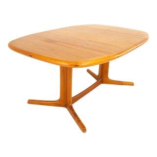 Dyrlund Mid Century Hidden Leaf Teak Dining Table For Sale