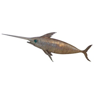 Silver Plate Spanish Articulated Swordfish For Sale