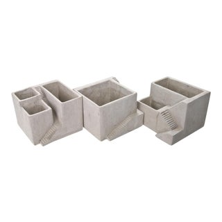 Architectural Style Concrete Planters - Set of 3
