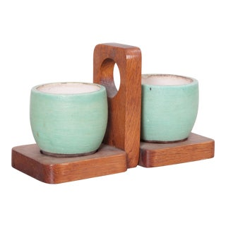 Keramos Ceramic Mugs and Oak Tray, France, 1950s