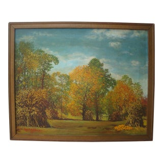 1959 Corn Field Harvest Landscape Painting