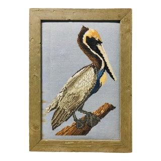 Vintage Pelican Water Bird in Cross Stitch Art For Sale