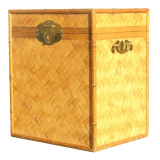 Rattan / Bamboo and Cane Trunk or Table, C. 1970 For Sale