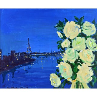 'Paris by Night' Poetic Mid Century Impressionist Gem by Eva Holmberg Jacobsson For Sale