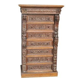 Late 19th Century English Oak Wellington Chest/Secretary For Sale