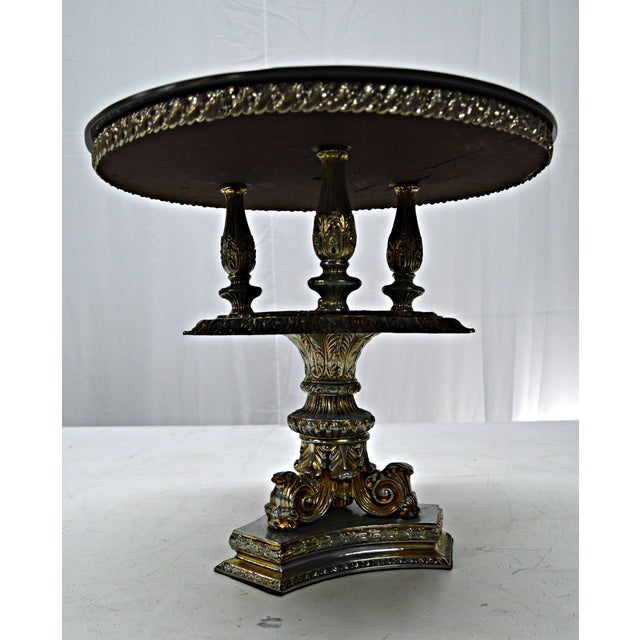 Metal Gold Pewter Metal Cake Stand or Auxiliary Table For Sale - Image 7 of 8