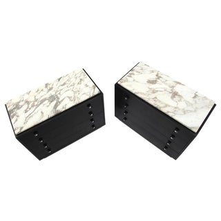 Pair of Marble-Top American Mid-Century Modern Bachelor Chests