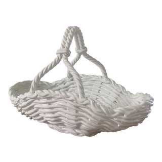 Mid 20th Century Italian Woven Porcelain Basket For Sale