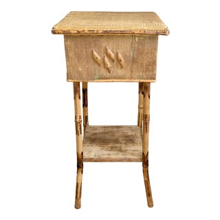 Antique English Aesthetic Movement Bamboo Sewing Side Table With Storage & Shelf For Sale