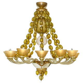 Vintage Murano Glass Chandelier by Barovier For Sale