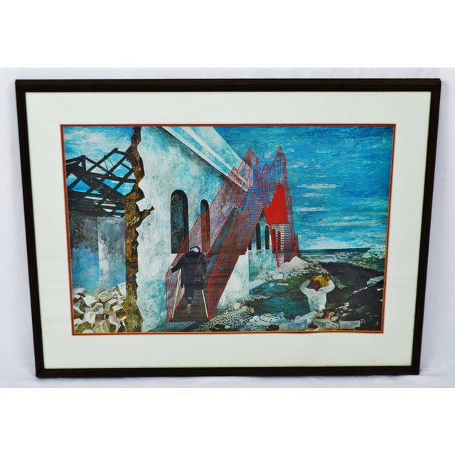 "Vintage 1940's Framed Print of Ben Shahn's ""The Red Stairway"" Ben Shahn (1898-1969) was a Jewish-American painter of the..."