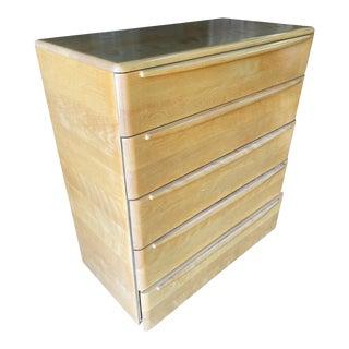 Heywood Wakefield Blonde Streamline Maple Highboy Dresser For Sale