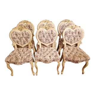 Vintage Mid Century Tufted Hollywood Regency Heart Dining Chairs- Set of 6 For Sale