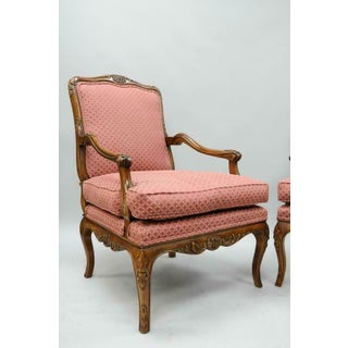 Late 20th Century Country French Louis XV Shell Carved Century Bergere Lounge Arm Chairs- A Pair Preview