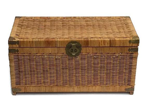 Mid Century Modern Rattan Trunk / Storage Blanket Chest Brass Chinese  Hardware   Image 5 Of