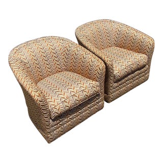 Vintage Thomasville Contemporary Chevron Swivel Chairs - a Pair For Sale