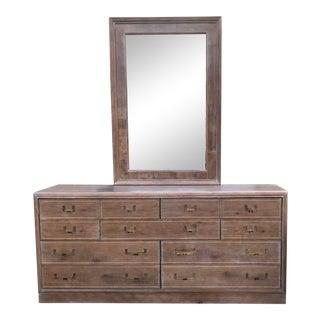 1970s Weathered Oak Dresser & Mirror For Sale