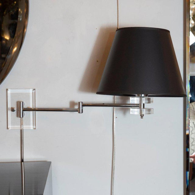 Mid-Century Modern Polished Chrome and Lucite Swing Arm Sconces - a Pair For Sale - Image 4 of 9