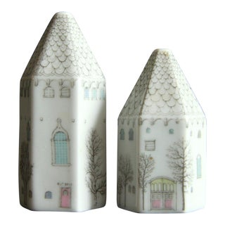 Whimsical Rosenthal 'Winter Journey' Houses Salt & Pepper Shakers - a Pair For Sale