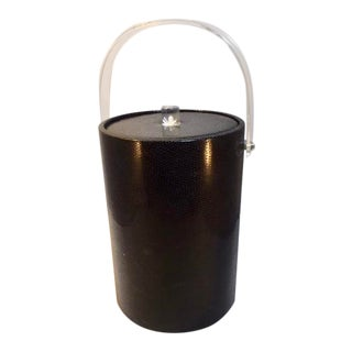 1970s Vintage Lucite and Faux Leather Ice Bucket For Sale