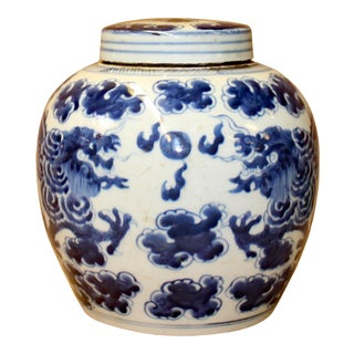Chinese Blue White Ceramic Double Dragons Graphic Ginger Jar For Sale
