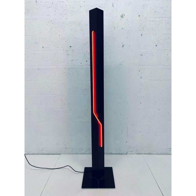 Kovacs Rudi Stern Postmodern Red Neon Floor Lamp for George Kovacs, 1980s For Sale - Image 4 of 13