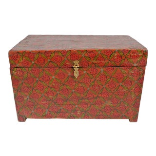 Vintage Painted Wood Trunk For Sale