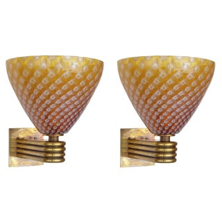 Barovier E Toso Murano Glass on Brass Sconces - a Pair For Sale