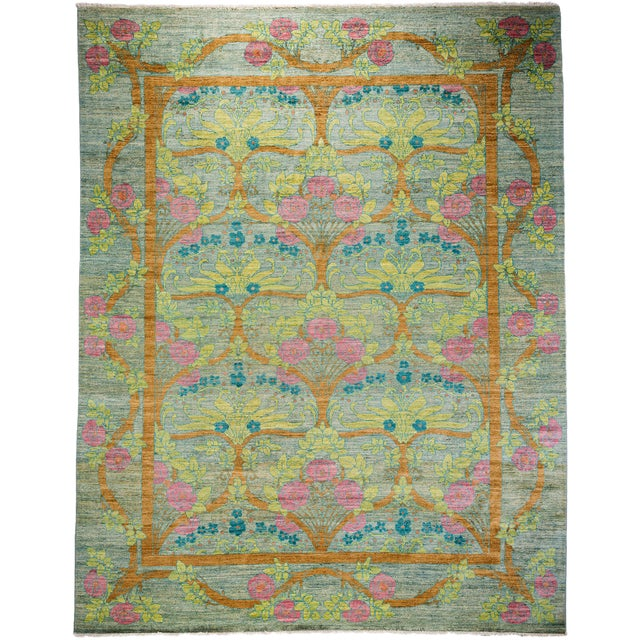 "Arts & Crafts Hand Knotted Area Rug - 9'1"" X 11'7"" For Sale"