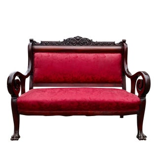Antique Victorian Rococo Carved Mahogany Red Floral Settee For Sale