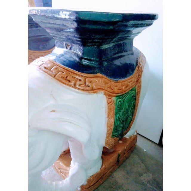 A Pair Vintage Chinoiserie Palm Beach Regency Colorful Elephant Garden Stools Tables For Sale - Image 9 of 10