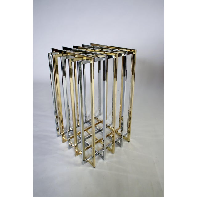 Metal Pierre Cardin Mixed Chrome and Brass Grid Table For Sale - Image 7 of 10