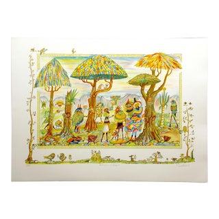 "Guillermo Silva ""Festival en El Bosque"" Signed & Numbered Art Lithograph Unframed For Sale"