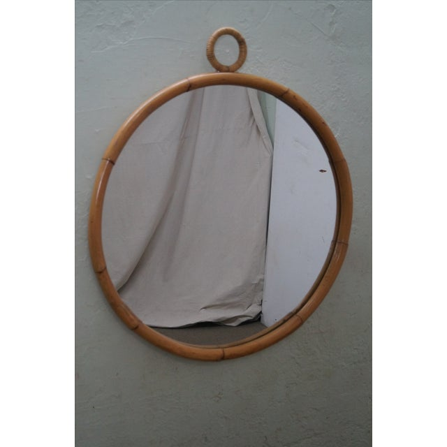 Mid-Century Round Bamboo Wall Mirror - Image 8 of 10