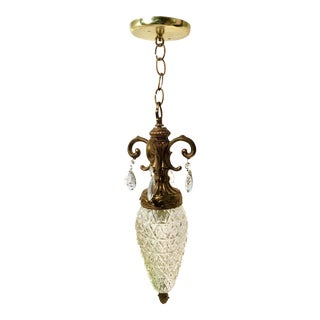 Mid-Century Hanging Acorn Shape Glass Pendant Light with Crystals For Sale
