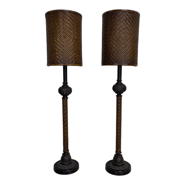 Theodore Alexander Leather Woven Buffet Lamps - a Pair For Sale