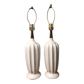 Vintage Mid-Century Danish Modern Ceramic Fluted Lamps - a Pair For Sale