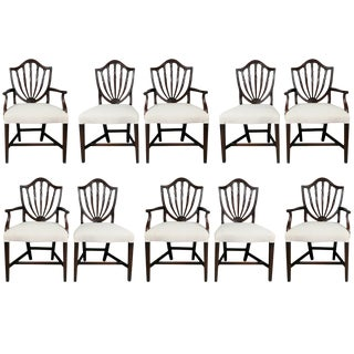 George III Style Mahogany Dining Chairs - Set of 10 For Sale