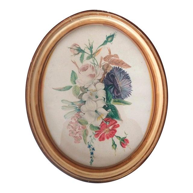 Vintage Oval Framed Floral Art For Sale