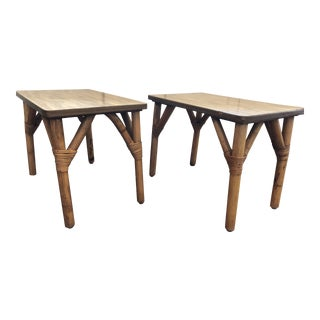 Mid-Century Modern Jb Van Sciver Rattan Tables - a Pair For Sale