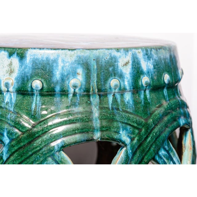 Chinese Old Large Green & Blue Glazed Terra Cotta Barrel Shape Garden Stool, A-Pair For Sale In West Palm - Image 6 of 12