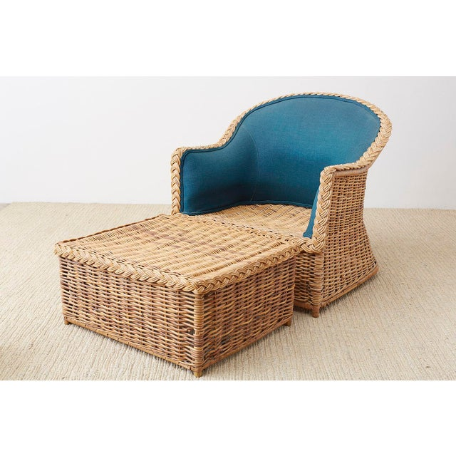 Pair of McGuire Rattan Wicker Lounge Chairs and Ottoman For Sale - Image 11 of 13