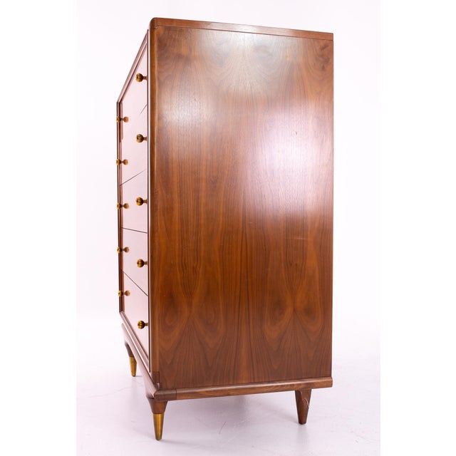 """Kent Coffey """"The Continental"""" Mid Century Walnut Highboy Dresser For Sale In Chicago - Image 6 of 12"""
