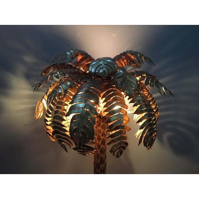 Maison Jansen Style Monumental Hollywood Regency Brass Palm Tree Floor Lamp - Image 6 of 6