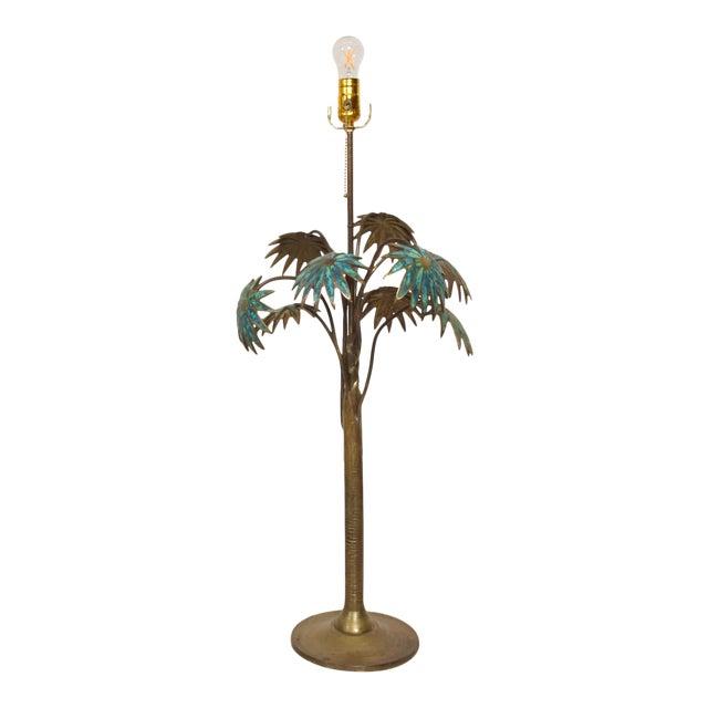 1950s Pepe Mendoza Palm Tree Table Lamp in Bronze & Malachite, Mexico For Sale