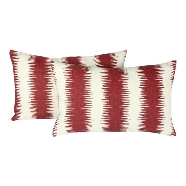 """Peter Dunham's Ikat """"Pasha"""" Linen Lumbar Pillow Pair For Sale"""