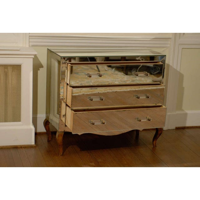 Mirrored Art Deco Three Drawer Chest with Brass Accents For Sale - Image 4 of 9